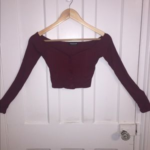 Long Sleeve Off The Shoulder Button Up Crop Top